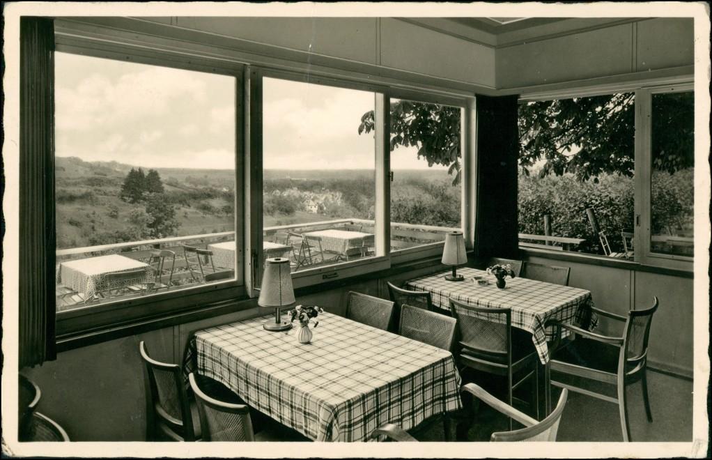 Ansichtskarte Oberthalfingen-Ulm a. d. Donau Cafe Restaurant, Innen 1955 0
