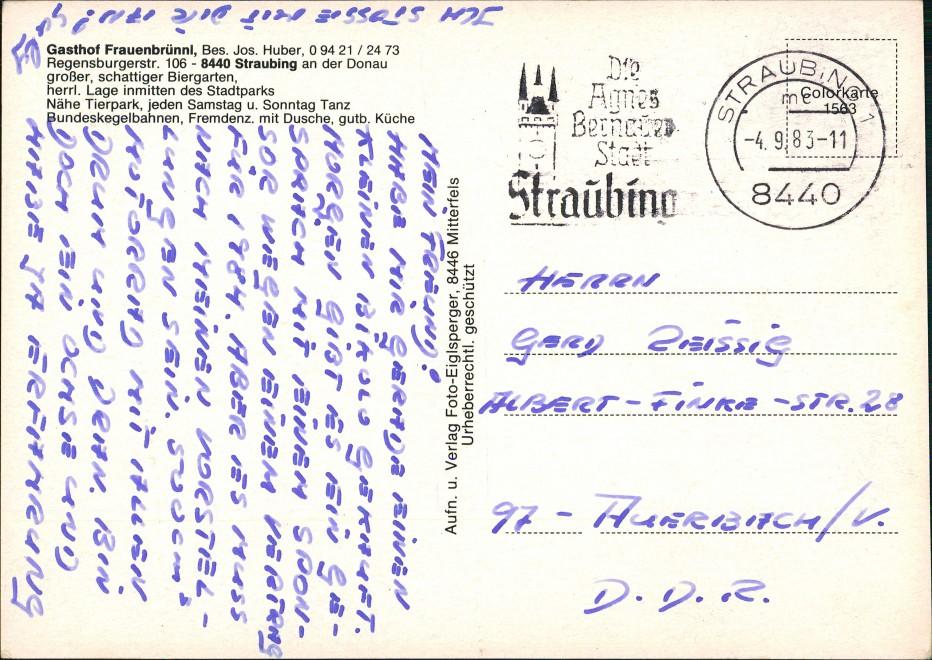 Straubing Gasthof Frauenbrünnl, Bes. Jos. Huber, 4 Ansichten 1983 1