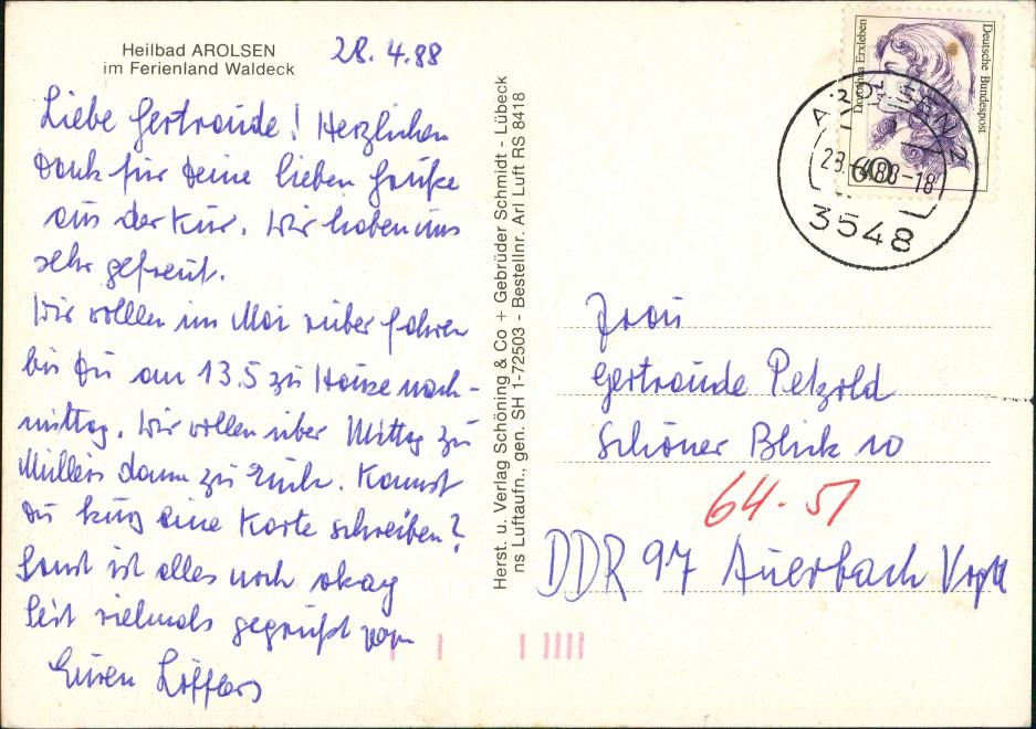 Ansichtskarte Bad Arolsen Luftbild Überflug Panorama Gesamtansicht 1988 1