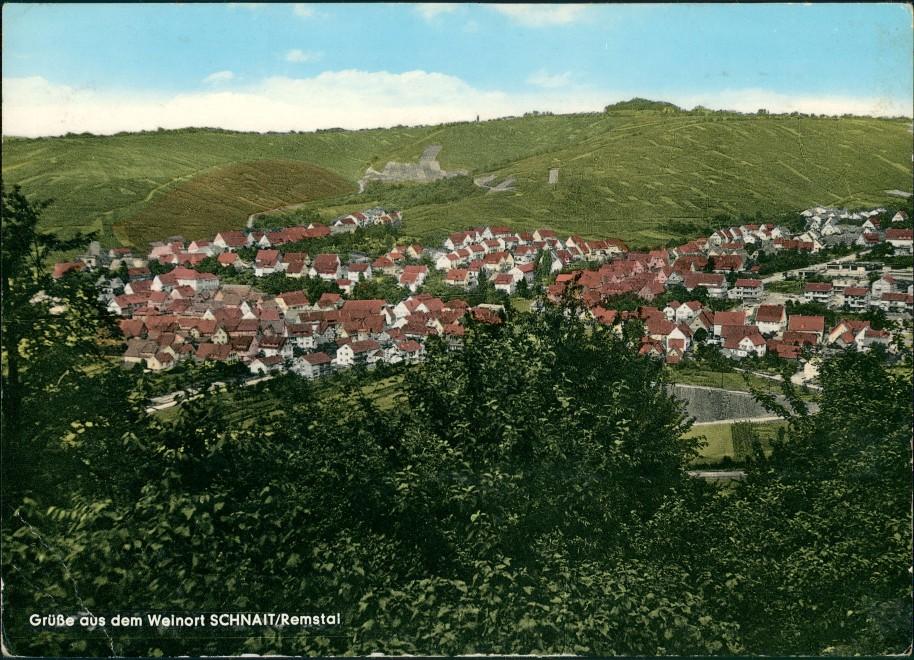 Schnait-Weinstadt 7051 SCHNAIT Remstal Panorama Totalansicht 1967   gelaufen mit Stempel SCHNAIT 0