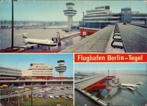 Ansichtskarte Tegel-Berlin Flughafen, Flugzeug Mehrbild 1985