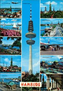 Ansichtskarte St. Pauli-Hamburg Fernsehturm Flugzug ua MB 1981