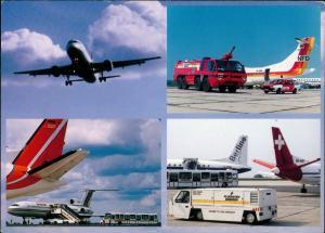 Ansichtskarte Klotzsche-Dresden Flughafen Flugzeug Feuerwehr 1993