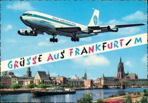 Ansichtskarte Frankfurt am Main Fluzeug Pan AM über der Stadt 1966