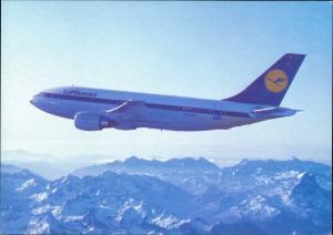 Ansichtskarte  Lufthansa Airbus A310 Flugwesen - Flugzeuge über Gebirge 1988