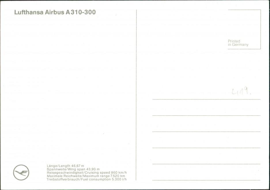 Ansichtskarte  Lufthansa Airbus A310-300 Flugwesen - Flugzeuge 1989 1