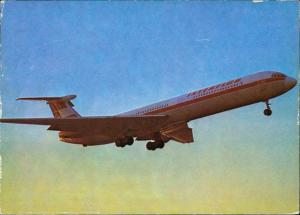 Ansichtskarte  Turbinenluftstrahlverkehrsflugzeug IL 62Interflug Flugzeug 1977