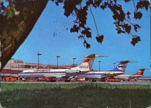Ansichtskarte Schönefeld-Berlin Flughafen Aeroflot - Flugzeuge Interflug 1977