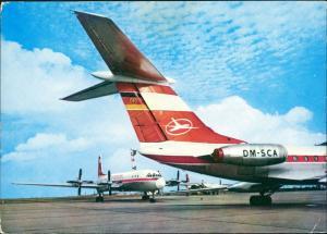 Ansichtskarte  Turbinenluftstrahlverkehrsflugzeug TU 134 INTERFLUG 1970