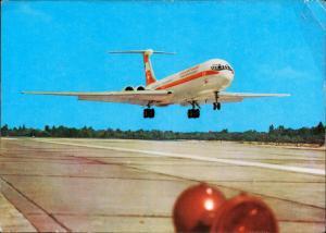 Ansichtskarte  Turbinenluftstrahlverkehrsflugzeug Interflug Start IL 62 1973
