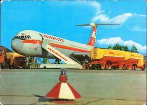 Ansichtskarte  Turbinenluftstrahlverkehrsflugzeug IL 62 Betankung Minol 1973