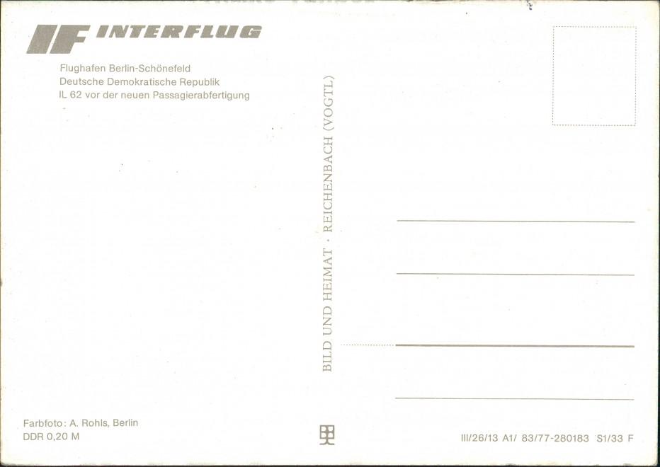Ansichtskarte Schönefeld-Berlin Flughafen IL 62 INTERFLUG 1977 1