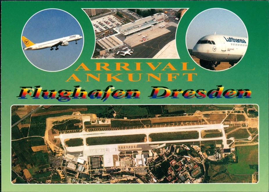 Ansichtskarte Klotzsche-Dresden MB Flughafen Lufthansa Luftbild 1999 0