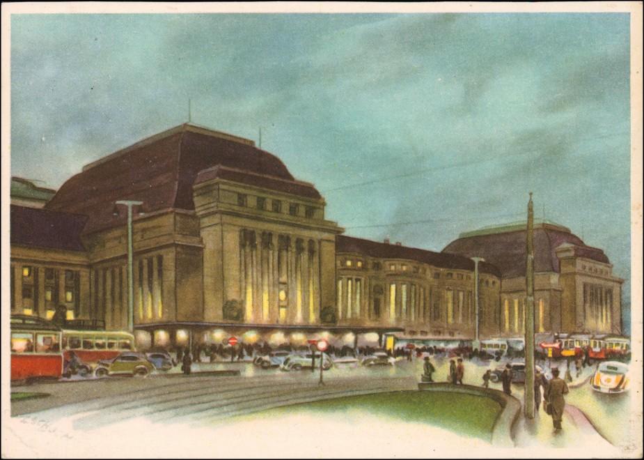 Ansichtskarte Leipzig Hauptbahnhof Verkehr Künstlerkarte 1939 0