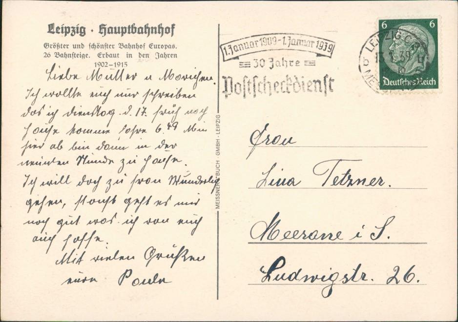 Ansichtskarte Leipzig Hauptbahnhof Verkehr Künstlerkarte 1939 1