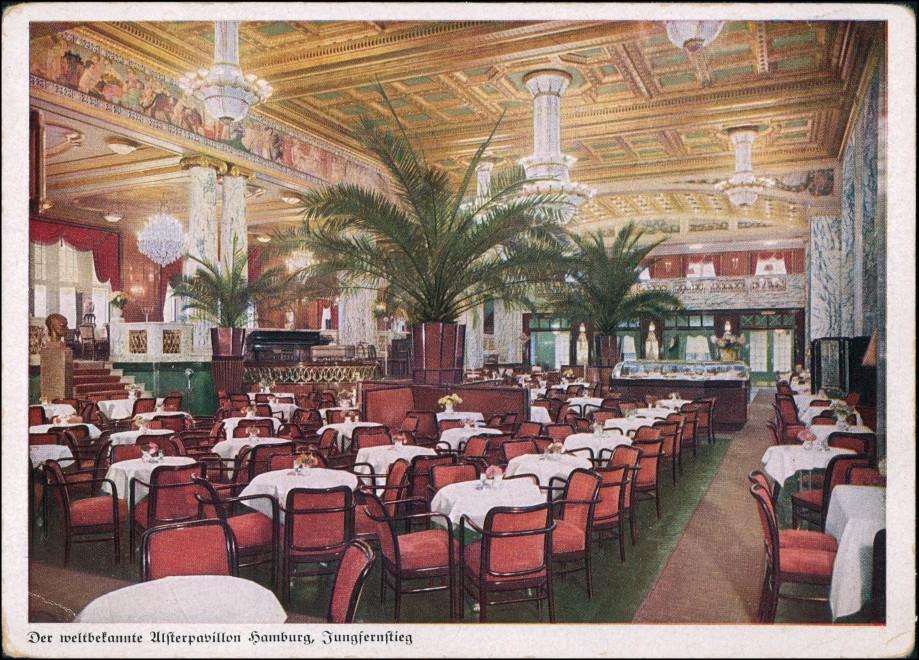 Ansichtskarte Hamburg Alsterpavillon - Innenansicht 1928 0