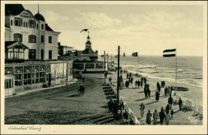 Postcard Cranz Selenogradsk (Зеленоградск) Hotels, Ufer, Naziflagge 1927