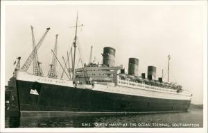 Southampton R.M.S. QUEEN MARY Dampfer Schiff Ship Schiffsfoto 1950