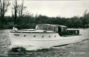 Norwich Hearts Cruisers Ltd., Yacht Schiff Ship King of Hearts, Schiffsfoto-AK 1950
