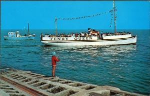 Pembrokeshire TENBY QUEEN Schiff Ship Schiffsfoto Fahrgastschiff 1970