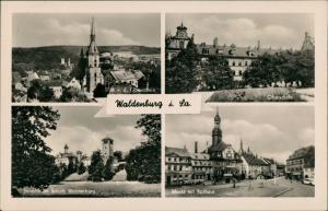 Waldenburg (Sachsen) DDR Mehrbild-AK mit Oberschule, Schloß, Markt Rathaus 1954