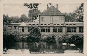 Heilbad Heiligenstadt Heilbad Eichsfeld DDR Kneippbad mit Schwanenteich 1954