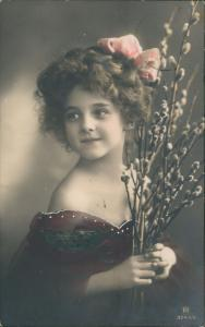 Dessau Roßlau Kind mit Weidekätzchen  1912    Nicht-Zustellbarkeit-Stempel
