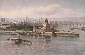 Koblenz Rhein Dampfer passiert Kaiser-Wihelm-Denkmal Dt. Eck 1920