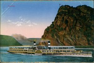 Sankt Goar Rhein Dampfer Schiff Fluss Fahrgastschiff an Loreley 1910