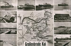 Großenbrode Mehrbild-AK div. Schiffe, Fähren & Fährschiffe, Umgebungskarte 1955